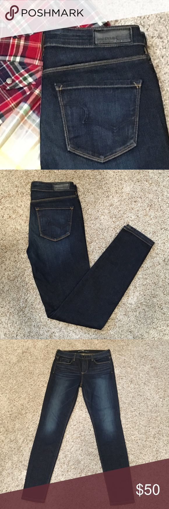 """Big Star Andrea Skinny Jeans These NWOT Big Star Andrea Skinny jeans feature: a dark wash, a flattering back pocket design, mid-rise, and are 92% cotton, 7% polyester, and 1% spandex. They are a size 28 and have a 28"""" inseam. Never been worn!! These are awesome jeans ladies!! Big Star Jeans Skinny"""