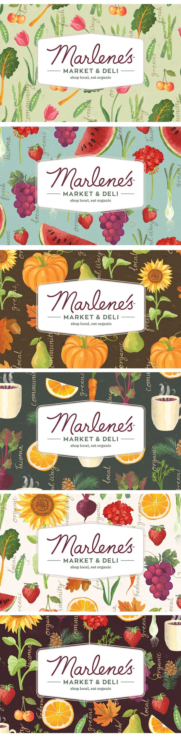Last summer I was contacted by Seattle based design agency Modern Species  about a rebranding project for a organic market in Tacoma. They had seen my  foodie illustrations on Pinterest and felt that my approach would be  perfect for their client. Marlenes Market and Deli is a natural food store  that offers organic, sustainably produced foods, beauty care and household  products that was established in 1976, with two stores.  We started with a Skype call to discuss the specific requirements…