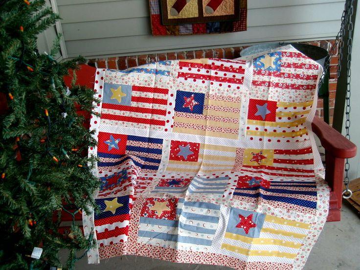 cool pastel flags: Patriots Quilts, Cottages Quilts, Quilts Inspiration, Geraniums Cottages, Pattern, Quilts Americana, Quilts Ideas, Quilts Flags, Flags Quilts