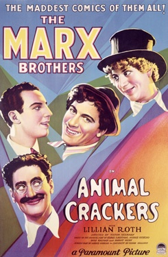 Movie poster of Animal Crackers (1930) - The Four Marx Brothers, when Zeppo was still part of the act.