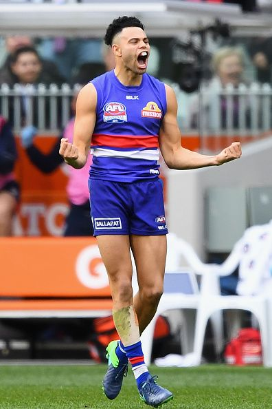Jason Johannisen of the Bulldogs celebrates kicking a goal during the 2016 AFL Grand Final match between the Sydney Swans and the Western Bulldogs at...