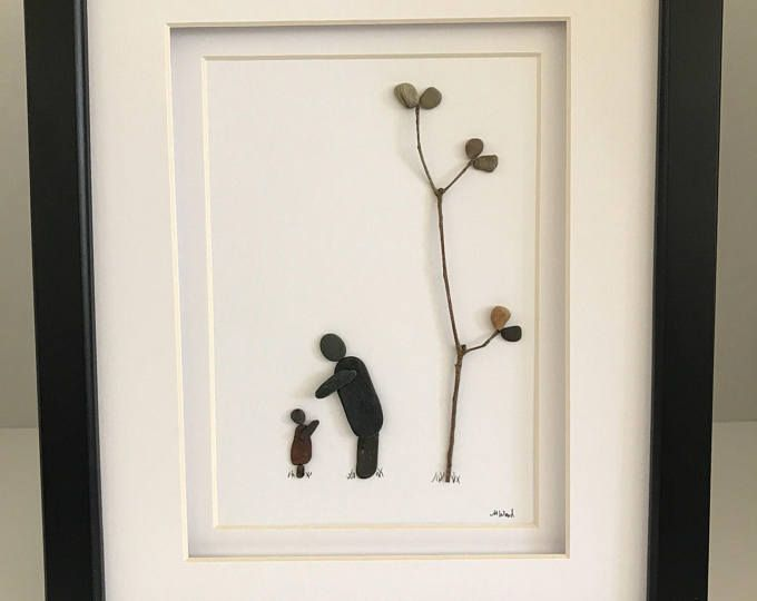 Bird In A Tree Pebble Art Minimal Art Original Art By Sharon Nowlan Matted Or Framed 12in X 12in Rustic Frames Pebble Art Frame