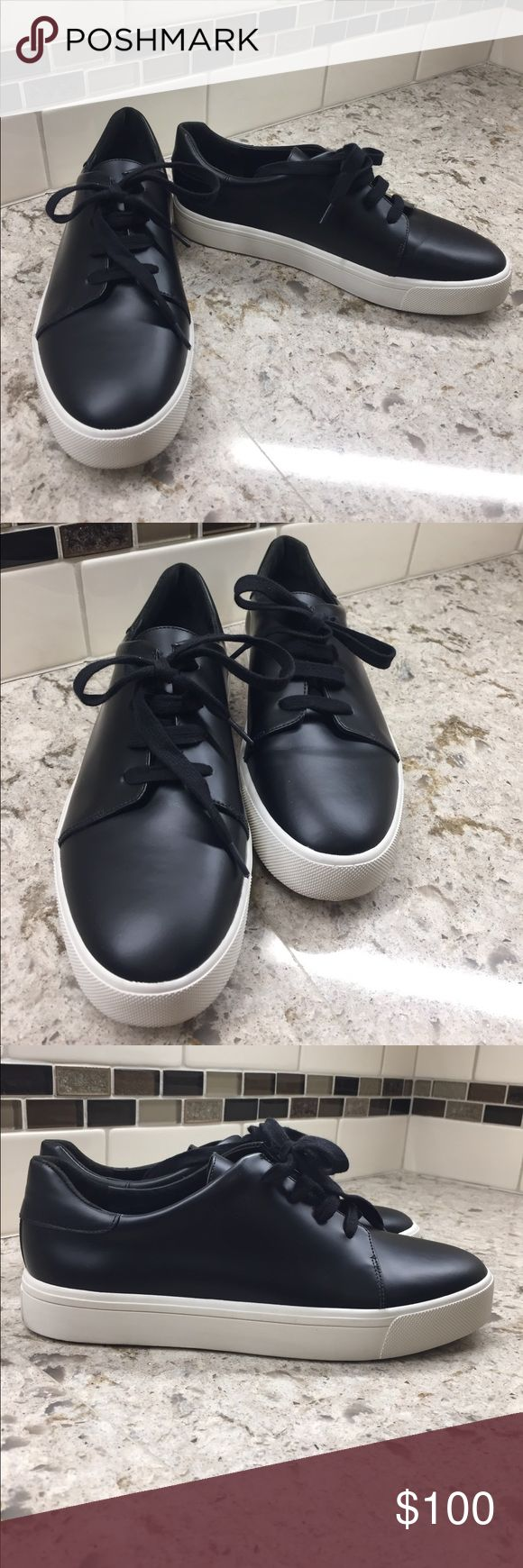 """Vince """"Bale"""".black leather sneakers New in box black leather sneaker with white bottoms Vince Shoes Sneakers"""
