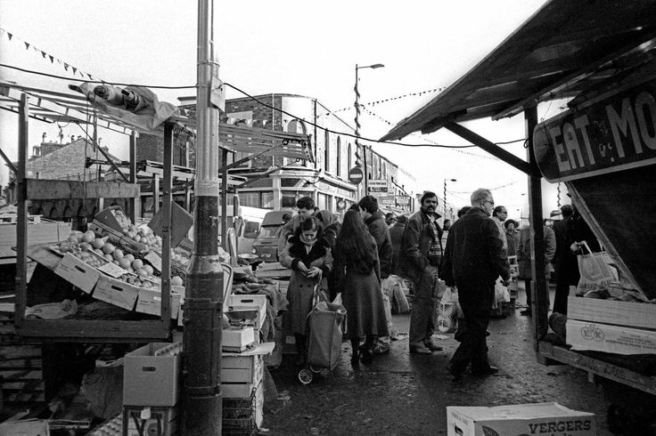 Ridley Road in 1982. It was Ridley Road market that was the inspiration for the market in Albert Square in East Enders. © Alan Denney
