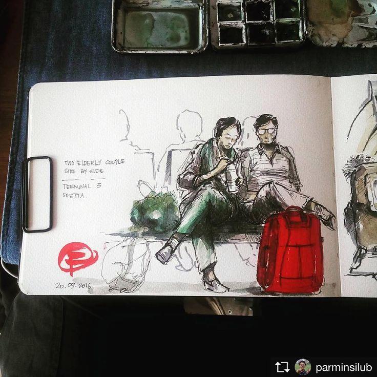 Repost from @parminsilub Two elderly couple sitting side by side in the lobby. #sketch #sketchwalker #sketching #doodling #doodlewash #drawing #urban #urbansketch #illustration #watercolor #people #pen #markers Pen + waco Tangerang, 20.09.2016
