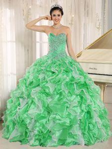 2015 New Medium Spring Green Ruffled Beaded Sweet 16 Dress