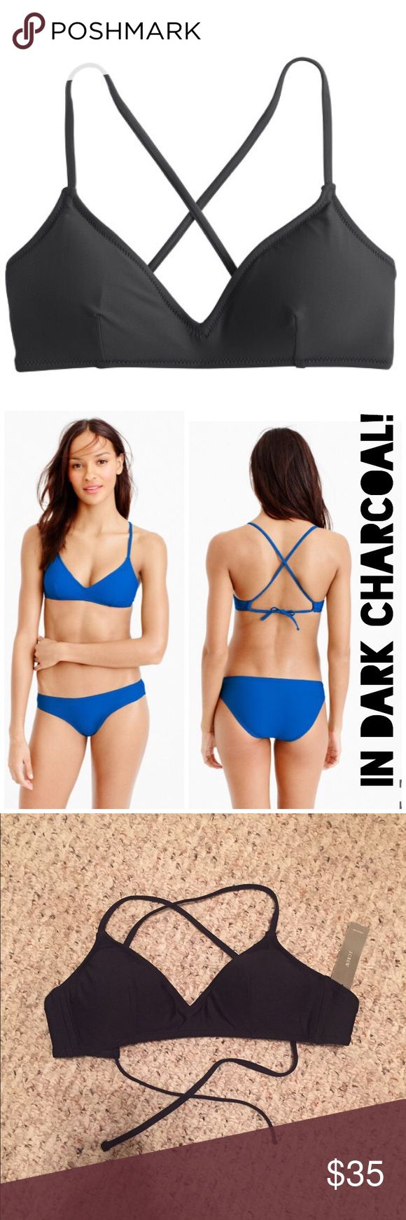 J. Crew French Cross-Back bikini top SMALL NWT! Medium. Black. Got this at a J. Crew warehouse sale so the tag does have a line through the the J. Crew on tag. Authentic J. Crew! Simple but très chic, a classic french cross-back bikini top never fails.  Tactel® nylon/elastane. Ties at back. Removable padding. Lined. Our swimsuits are machine washable, but we recommend hand washing as it helps keep the fabric and the shape of the suit looking newer, longer. J. Crew Swim Bikinis