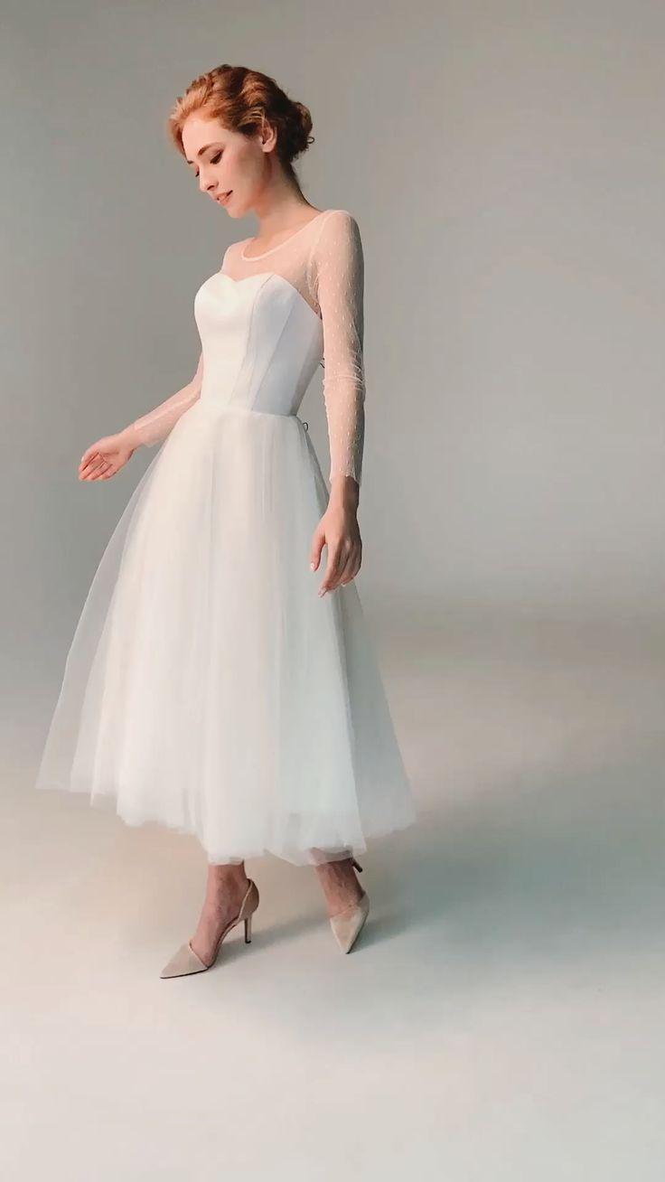 Tea Length Wedding Dress 60s Wedding Dress Simple Wedding Etsy Midi Wedding Dress Short Wedding Dress Long Wedding Dresses [ 1308 x 736 Pixel ]