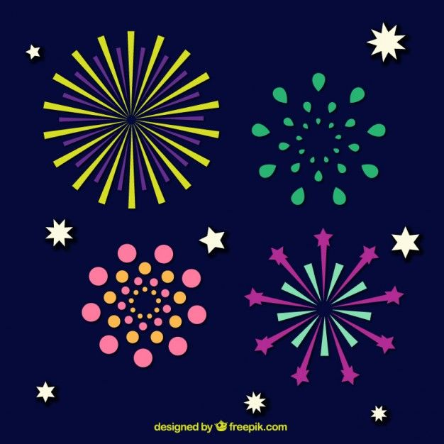 Fireworks pack with stars Free Vector
