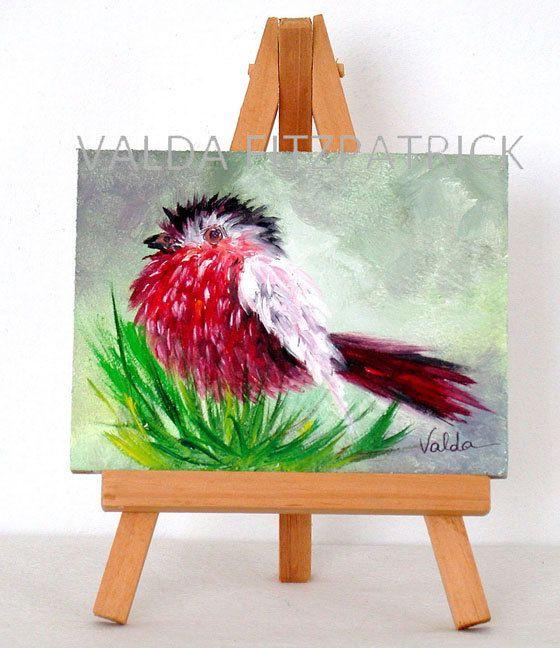 Pájaro rojo con alas blancas, 3 x 4, pulgadas, original pintura al óleo, artículo del regalo con caballete, aves silvestres, pintura arte vida