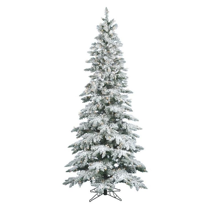 Vickerman 12 ft. Flocked Slim Utica Fir Pre-lit LED Christmas Tree - A895091LED