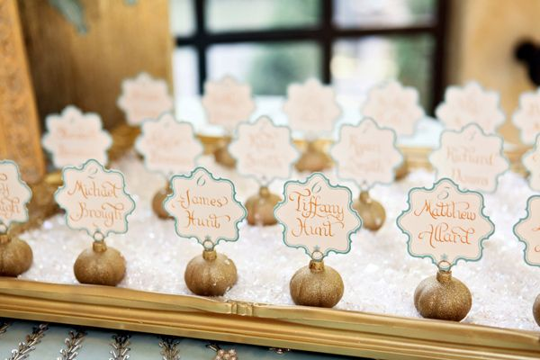 Glittered ornaments. Replace the name cards with earring cards. Love the idea of using a frame as a tray.