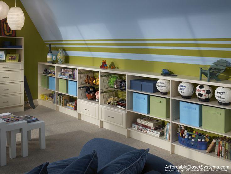 Good shelf storage for slanted ceiling short walled rooms for Slanted roof bedroom ideas