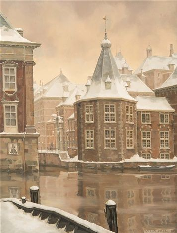 The tower on the Binnenhof in The Hague 1963 by Anton Pieck (Dutch, 1895–1987)