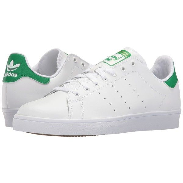 adidas Skateboarding Stan Smith (White/White/Green) Skate Shoes ($70) ❤ liked on Polyvore featuring shoes, traction shoes, green shoes, grip shoes, white skate shoes and light weight shoes