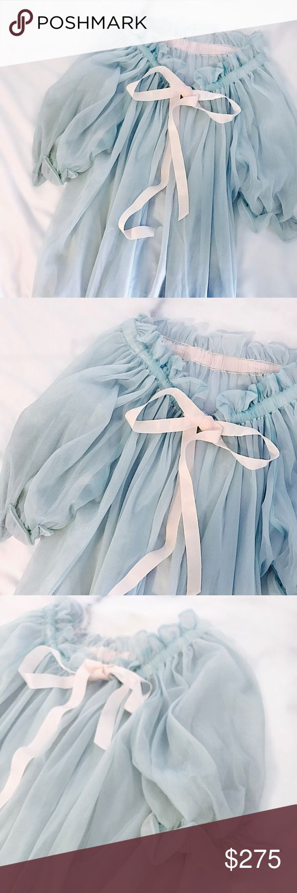 "1960s ""Blue Laced Agate"" Satin Bow Duster Voluminous, pleated drawstring duster rendered in layered airy blue and pink nylons. Blush pink satin tie front. Wear open or closed over jeans and a tshirt. Probably from the 1960s. Incredible one of a kind piece. 43""L, 22""p to p- closest to a size M but looks great on anyone size XS-L. Great vintage condition. Retail value $400. [Olivia Cheng Curated Vintage] Vintage Jackets & Coats"