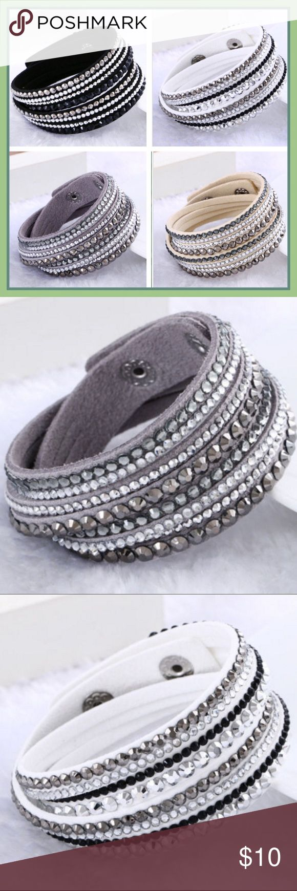 """BOGO 50% OFF- Suede Wrap Crystal Bracelet / Choker NIB. PRICE FIRM.  Suede Double Wrap Crystal Bracelet with two snaps to fit most everyone.  Approx 14.25-15"""" long, can double as a choker on most necks. (First snap at 14.25""""; second snap at 15"""") Comes in 4 colors -- buy one, get one for 50% off!  (I will create a listing for you - this means 2 for $15 instead of 2 for $20).  Plus a free 💄beauty sample 💄with purchase.  But: 🚫NO TRADES🚫, Thanks. Jewelry Bracelets"""