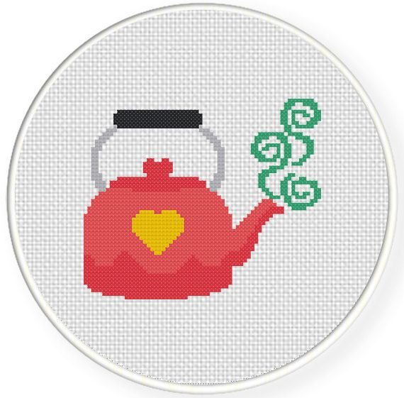 Charts Club Members Only: Cute Pink Kettle Cross Stitch Pattern