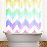 $60  Watercolor Chevron - Pastel Rainbow Chevron Shower Curtain - kids, teenage, teenager, bathroom, college, dorm, apartment, pastel