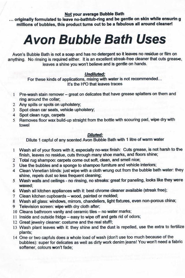 Multiple uses of Avon bubble bath and SSS bath oil!!!!