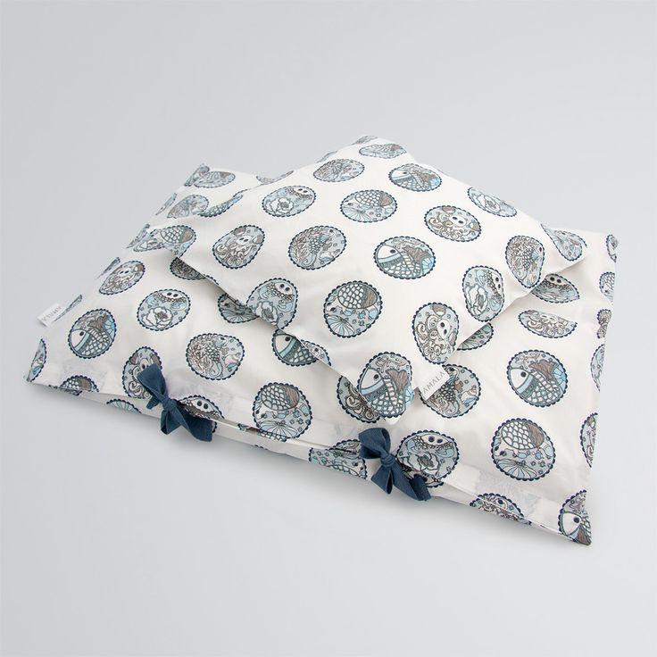'Madhubani Blue' childrens bedding - 100% organic cotton GOTS Certified.
