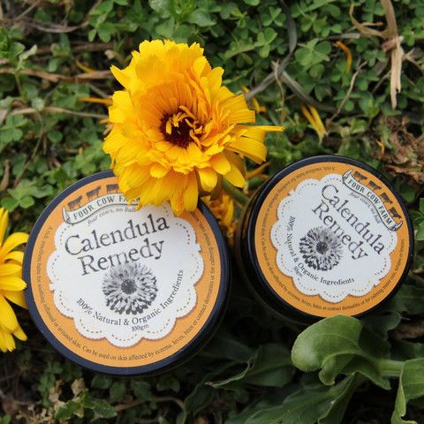 Calendula cream for sensitive skin - Four Cow Farm  A rich, emollient balm for soothing and calming inflamed or irritated skin. Can be used on skin affected by eczema, hives, bites or contact dermatitis or for calming minor cuts, scrapes or bruises.