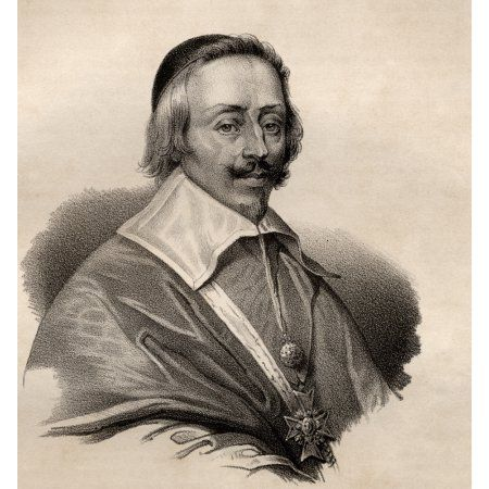 Jean-Armand Du Plessis French Cardinal And Duke Of Richelieu Aka The Red Eminence 1585-1642 Politician And Prime Minister Of France 1624-1642 19Th Century Lithograph By Em Baerentzen & CoFrom The Book