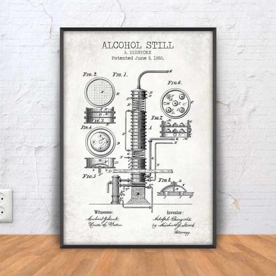ALCOHOL STILL poster alcohol still patent print by PrintPoint