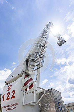 Ladder of a Fire engine truck in air on a firefighting show in Austria, Eisenstadt.