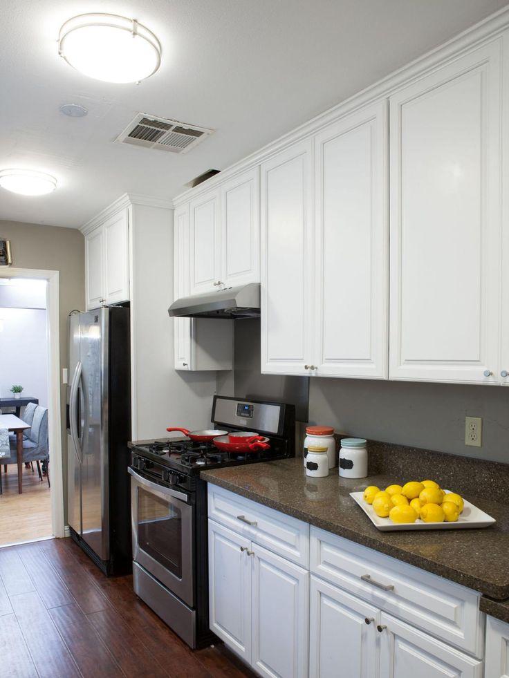 Dark Wood Cabinets White Countertops