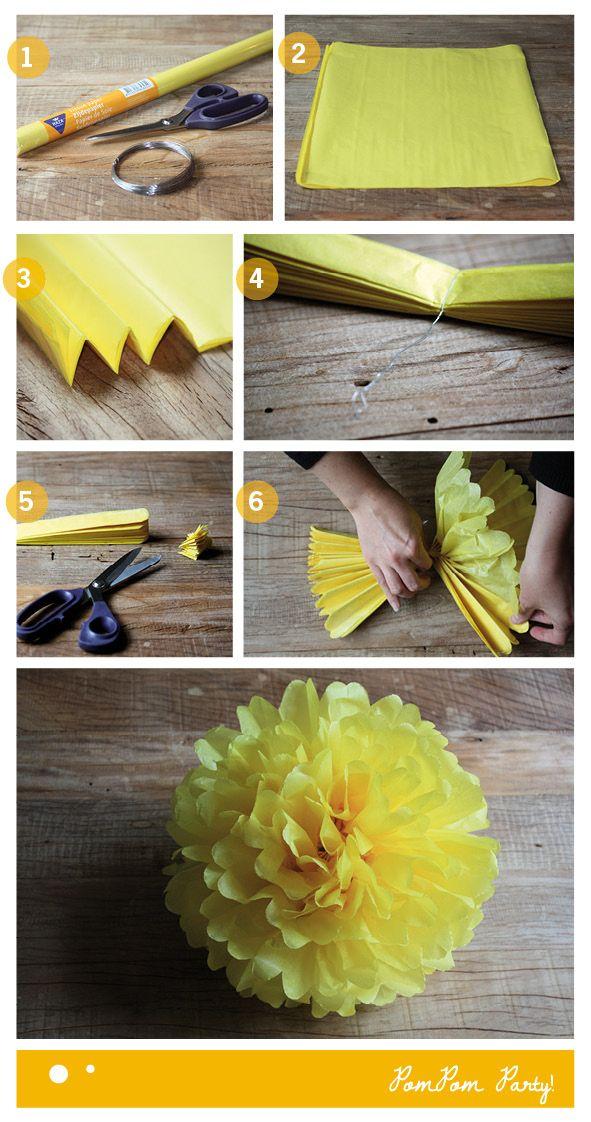PomPoms maken!          Als je iets te vieren hebt zijn pompoms een snelle, leuke en feestelijke aankleding voor je huis.      Wat heb je nodig?                  schaar      zijdepapier      ijzerdraad (of ander touw)          Hoe ga je te werk?                  Verzamel je benodigdheden      Leg minimaal 8