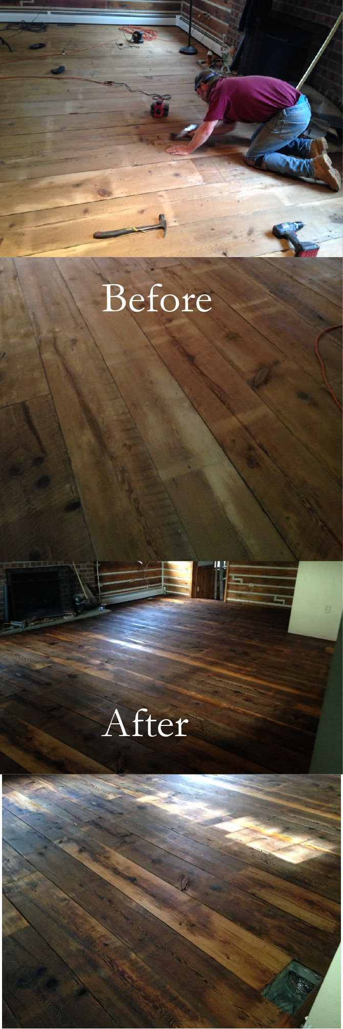 This flooring was from an 1880's barn my friend Greg and I took down in Allentown PA. We put it back up on my property and repaired rotten timbers and replaced roof rafters with new 2x4 trusses. The second floor of the barn was this flooring that we put in our Log home and finished with your Tung oil mixed with mineral spirits. The Tung oil was the perfect finish for this antique pumpkin pine flooring, my wife and I are very pleased with the results!! Jonny P.