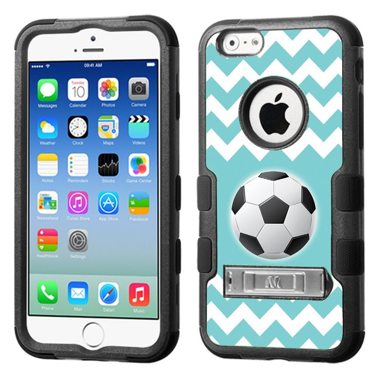 Fit iPhone 6 / 6s, One Tough Shield ® 3-Layer Hybrid Phone Case (Black) with Kick-Stand for Apple iPhone 6 / 6s - (Chevron/Teal/Soccer). Compatible with: Apple iPhone 6 / 6s (4.7 inch Screen Size). 3-Layer casing. FRONT and BACK Hard Cover combined with Soft Silicone Case. The 2 outer layers are made with Rigid Polycarbonate Plastic protects against Scratches. The inner piece is made with durable silicone material, wraps around the edges and back of the phone. Shock Absorbing. Built-in...