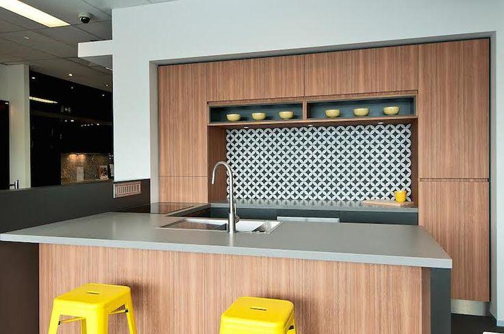 Trends Kitchens and Bathrooms in Newmarket Brisbane showing Navurban™ Byron Blackbutt kitchen display.