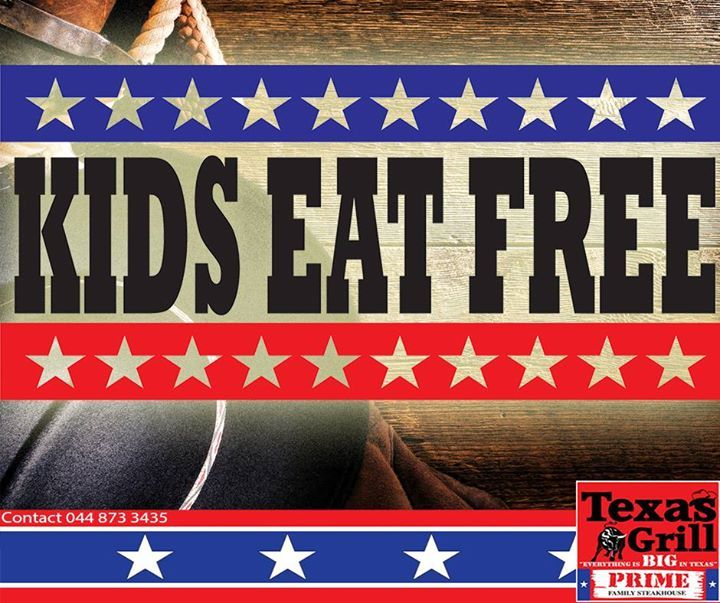 Its Kids Eat Free Monday! 2 kids accompanied by a dining adult will receive their meals for free. #texasgrill #george #steakhouse