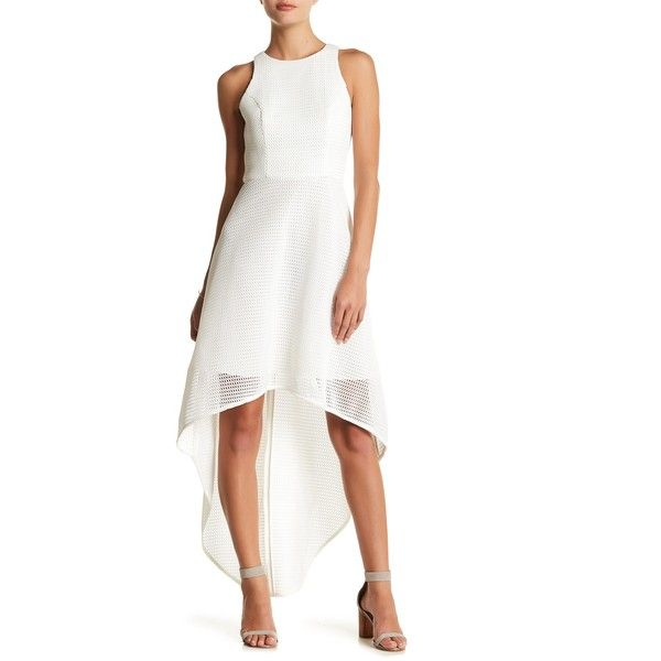 Lumier Hi-Lo Net Maxi Dress ($93) ❤ liked on Polyvore featuring dresses, white, high low dresses, racerback dress, high low maxi dress, hi low maxi dress and white maxi dress