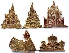 Disney Pin Cast Lanyard Gold Castle / Cottage / Palace Home Sweet Home ~ SET