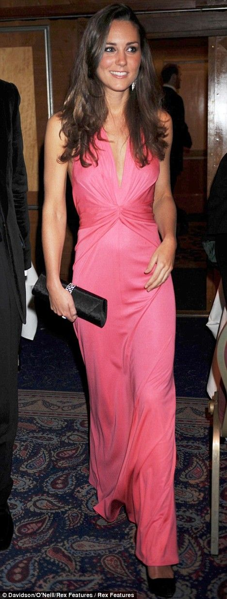 Kate Middleton and Chelsy Davy up the fashion stakes on a night out at the boxing |   Pink Satin Issa Dress - 9th June 2008