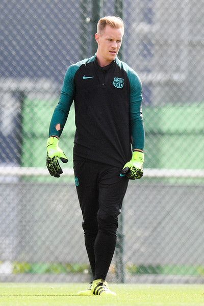 Marc-Andre ter Stegen of FC Barcelona looks on during a training session ahead of their UEFA Champions League Group C match against Celtic FC at Ciutat Esportiva of Sant Joan Despi on September 12, 2016 in Barcelona, Catalonia.