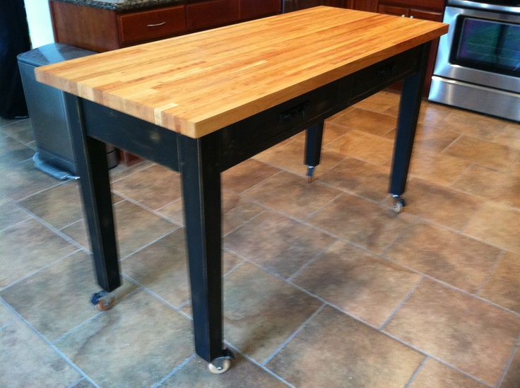 Rolling Kitchen Island With Cherry Butcher Block Top