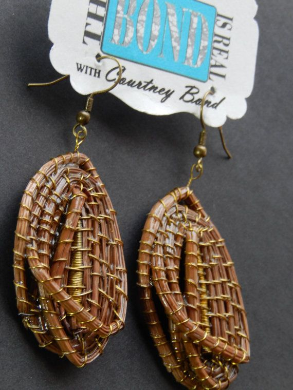 Antique Gold Interlaced Pine Needle Dangle by ...