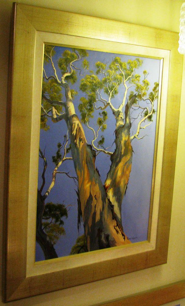 Robyn Collier original Australian oil titled  Blakley s Red Gum - Wattle Flat