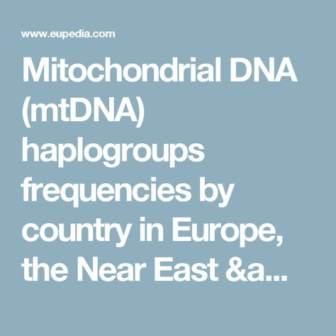 Mitochondrial DNA (mtDNA) haplogroups frequencies by country in Europe, the Near East & North Africa - Eupedia