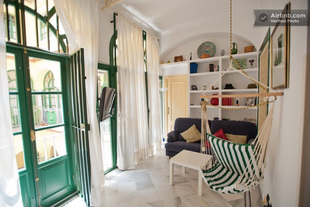 Beautiful room! Love the green doors.Sevilla Room, Green Doors, Sevilla Spain, Indoor Swings, Room Offering, Comforters Room, Beautiful Room, Courtyards, Single Beds