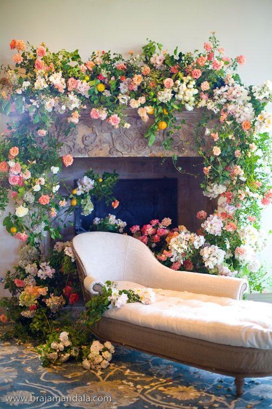 Fireplace florals.