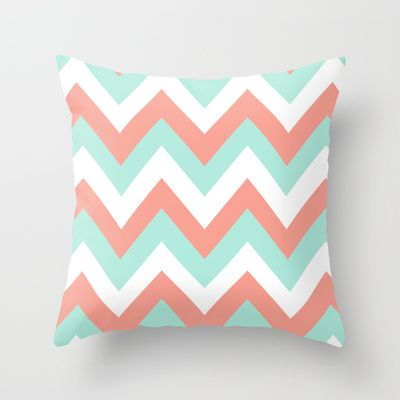 MINT & CORAL CHEVRON Throw Pillow by n a t a l i e  - $20.00