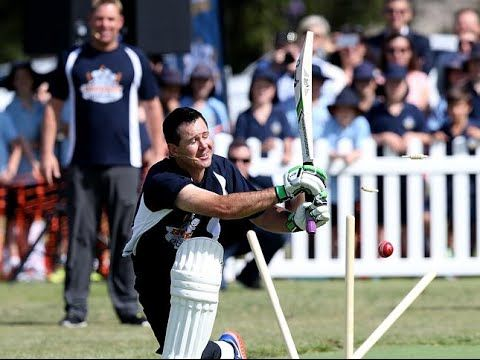 Highlights of Ponting Foundation charity match in Melbourne Former England captain Andrew Flintoff 38 bowls out ex-Australian captain Ricky Ponting 40 three times in three balls. Ten years after Englands famous Ashes victory the two rivals came head-to-head at a Ponting Foundation charity match in Melbourne on Tuesday