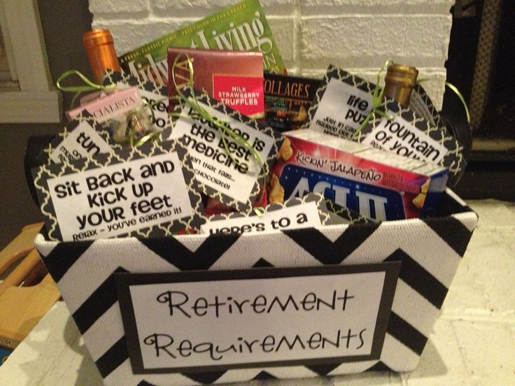 """Retirement Requirements"" gift basket #retirement #retire #Gifts http://www.great-gift-ideas.org/retirement-gifts/"