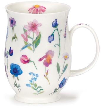 Dunoon - Fine Bone China Mugs - Suffolk Shape : Flora Blue