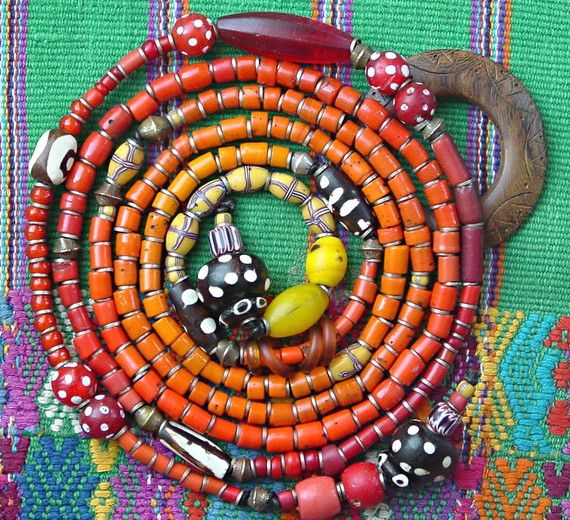 One aspect of old trade beads collectors and artists love is brilliant and unusual color. Color and combinations unrestrained by limitations